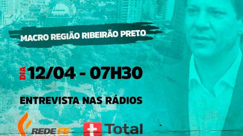 A entrevista será realizada no programa Voz Metropolitana, com Lincoln Fernandes, na Rede Fé FM 94,9 e Total FM de Sertãozinho 106,1, nesta segunda-feira (12), às 07h30. O programa vai ao ar de segunda a sexta-feira, das 06h às 09h.