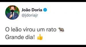 DÓRIA COMEMORA RECUO DE BOLSONARO E O CHAMA DE RATO